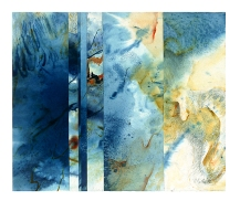 Ursula Kolbe 1990-1999 Watercolour Collages 'Beach'. Watercolour on paper
