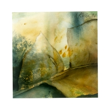 Ursula Kolbe 1990-1999 Watercolour Collages 'Leaf'. Watercolour on paper