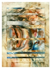 Ursula Kolbe 1990-1999 Watercolour Collages 'Threads V'. Watercolour on paper