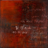 Ursula Kolbe 2007 'Memento'. Beeswax, oil, oil stick on board 46x46cm