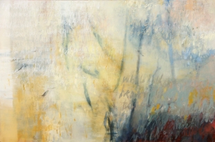 Ursula Kolbe 2007 'Poet in the World: Morning II'. Oil, oil stick on canvas 100x150cm