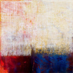 Ursula Kolbe 'Earth Voices III'. Oil and oil stick on canvas 100x100cm