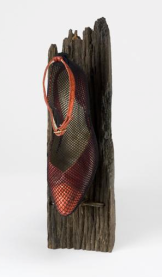 Ursula Kolbe 'Mi Noche Triste VI (Mimi's Shoe)'. Found materials, mixed media 36x15x12cm