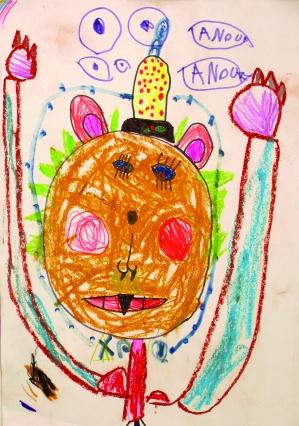 Dancing Teddy with caterpillar hat, oil pastels,felt-tip pens, Anouk (5)