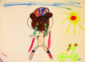 Sad Teddy,oil pastels, felt-tip pens, Anouk (5)
